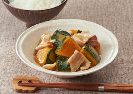 かぼちゃと豚肉の レンジ煮